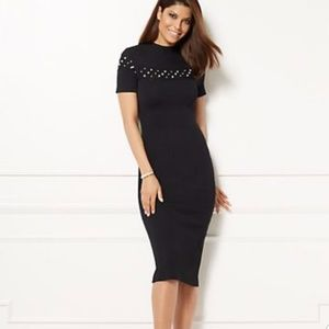 Knit black midi dress with pearl detailing